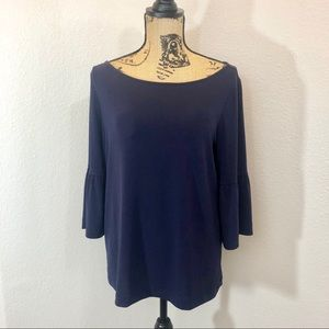Banana Republic Navy Bell Sleeve Blouse